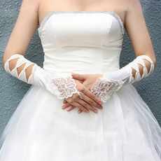 Ivory Satin Hollow Out Wedding Gloves with Embroidery