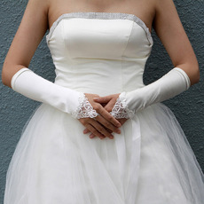 Satin Ivory Hollow Out Wedding Gloves with Embroidery