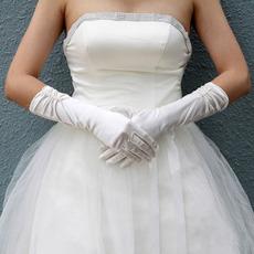 Elbow Elastic Satin Ivory Wedding Gloves