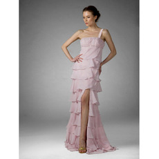 Chiffon Pink Evening Dress/ Tiered Prom Dress
