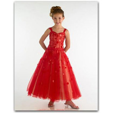 Red Ankle Length Easter Girls Dresses/ Tulle A-Line Flower Girl Dresses