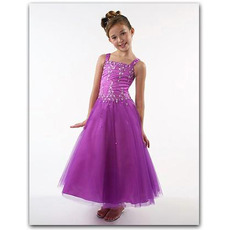Tulle Lavender Easter Girls Dresses/ Square Beaded Flower Girl Dresses
