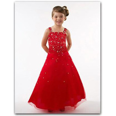 Red Square Easter Girls Dresses/ Beaded Tulle Flower Girl Dresses