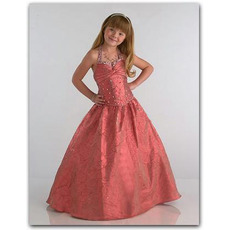 Beautiful Ball Gown Easter Girls Dresses/ Floor Length Taffeta Flower Girl Dresses