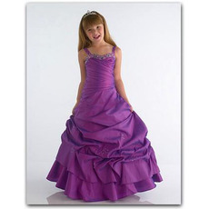 Inexpensive A-Line Floor Length Taffeta Easter/ Flower Girl Dresses