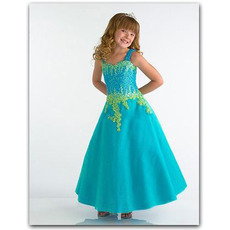 Blue Embroidery Easter Girls Dresses/ Sweetheart Satin Flower Girl Dresses