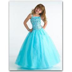 Lovely Blue Easter Girls Dresses/ Floor Length Bubble Skirt Flower Girl Dresses