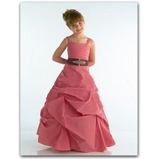 Gathered Skirt Easter Girls Dresses with Sash/ A-Line Taffeta Flower Girl Dresses