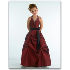 Burgundy Easter Girls Dresses with Sash/ Halter Gathered Skirt Flower Girl Dresses