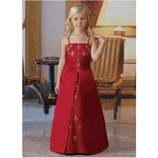 Designer A-Line Spaghetti Straps Long Red Little Girls Holiday Dresses