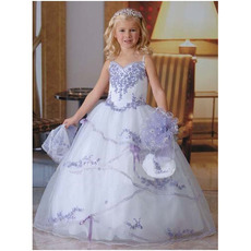 2016 Style Ball Gown Long Organza Embroidery First Communion Dresses