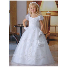 Affordable Ball Gown Bubble Sleeves Long First Communion Dresses