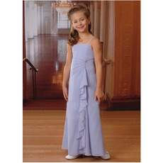 Affordable Spaghetti Straps Long Chiffon Little Girls Party Dresses