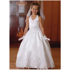 Discount Halter Floor Length Satin Bubble Skirt First Communion Dresses