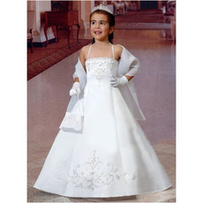 A-Line Spaghetti Straps Satin First Communion Dresses with Scarfs
