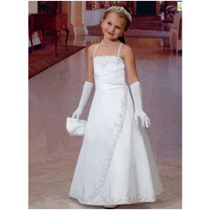 Custom Princess Spaghetti Straps Long Satin First Communion Dresses