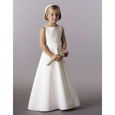 Cute A-Line Sleeveless Floor Length Satin First Holy Communion Dresses