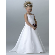 Spaghetti Straps First Holy Communion Dresses with Detachable Trains
