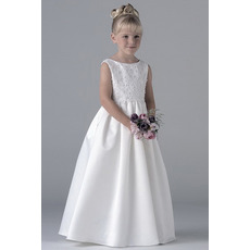 Discount Ball Gown Floor Length Satin First Holy Communion Dresses