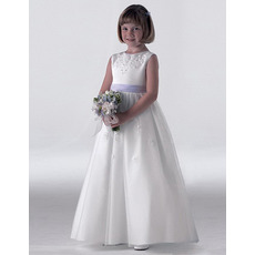 Custom Empire Floor Length First Holy Communion Dresses with Sashes