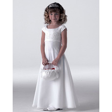 2018 New Style Empire Cap Sleeves Satin First Holy Communion Dresses