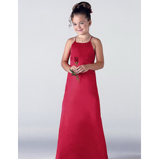 Pretty Sheath Spaghetti Straps Floor Length Satin Red Flower Girl Dress