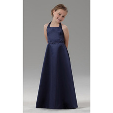2018 Style Sheath Halter Floor Length Satin Navy Flower Girl Dresses
