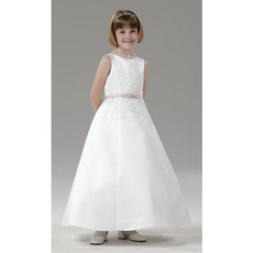 Lovely A-Line Sleeveless Ankle Length Satin First Communion Dresses