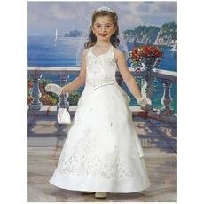 Inexpensive Adorable Halter Floor Length Satin First Communion Dresses