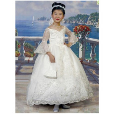 2018 New Custom Ball Gown V-Neck First Communion Dresses with Sleeves