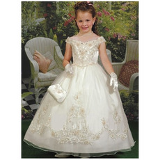 Inexpensive Adorable Ball Gown Off-the-shoulder First Communion Dresses
