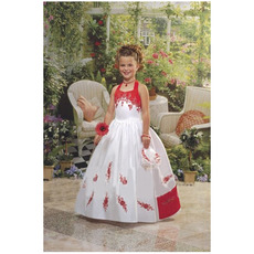 Inexpensive Cute Ball Gown Halter Long Colored Flower Girl Dresses