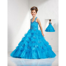 Tulle Layered Full Skirt Easter Girls Dresses/ Flower Girl Dresses