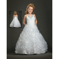 White Halter Ruffled First Communion Dresses/ Flower Girl Dresses