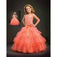 Orange Tulle Layered Easter Girls Dresses/ Flower Girl Dresses