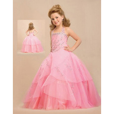 Layered Organza Pink Easter Girls Dresses/ Flower Girl Dresses