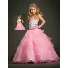 Organza Layered Full Skirt Pink Easter Girls Dresses/ Flower Girl Dresses