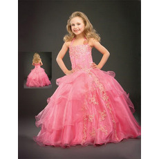 Ball Gown Tulle Layered Pink Easter Girls Dresses/ Flower Girl Dresses