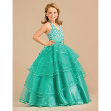 Halter Beaded Layered Easter Girls Dresses/ Flower Girl Dresses