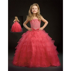 Tulle Floor Length Tiered Easter Girls Dresses/ Flower Girl Dresses