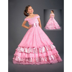 Taffeta Layered Sash Pink Easter Girls Dresses/ Flower Girl Dresses