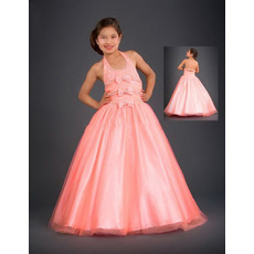 Halter Tulle Bow Easter Girls Dresses/ Flower Girl Dresses
