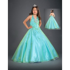 Net Beaded Full Length Easter Girls Dresses/ Flower Girl Dresses