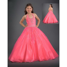 Tulle Embroidery Full Length Easter Girls Dresses/ Flower Girl Dresses