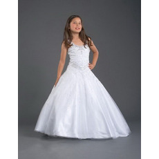 White Organza Full Length First Communion Dresses/ Flower Girl Dresses