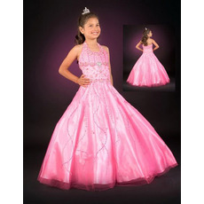 Tulle Embroidery Bubble Skirt Pink Easter Girls Dresses/ Flower Girl Dresses