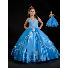Ball Gown Applique Layered Easter Girls Dresses/ Flower Girl Dresses