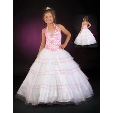Full Skirt Applique Layered First Communion Dresses/ Flower Girl Dresses