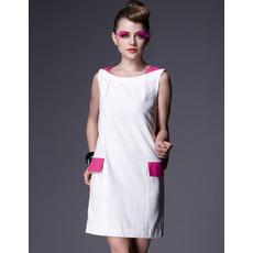 2015 White Short Holiday Dresses/ Designer Column Satin Homecoming Dresses