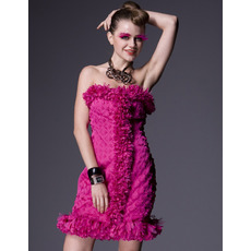 Discount Column Short Holiday Dresses/ Chic Ruffle Strapless Homecoming Dresses